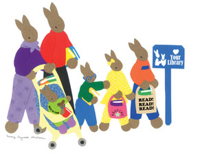 Take Your Child to the Library Logo rabbit family
