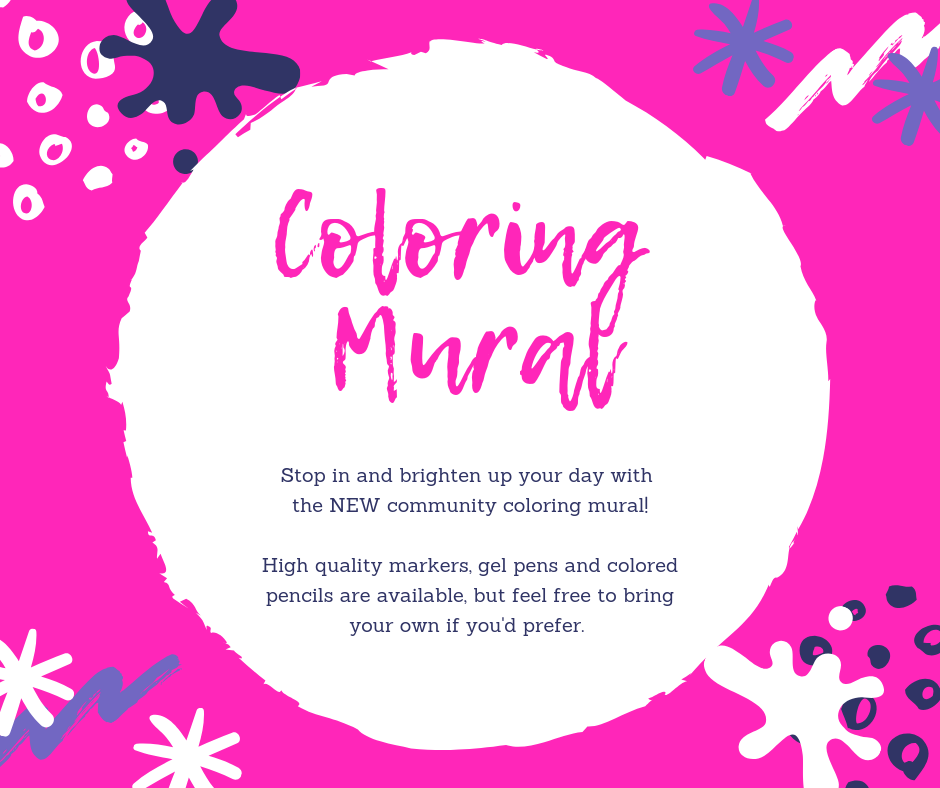 Coloring Mural. Downstairs at the library. All materials provided, feel free to bring your own.