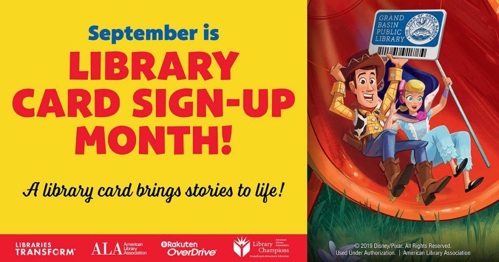 September is Library card sign-up month. Everyone who opens a new account with us in Sept is automatically entered to win a new Kindle Fire or gift certificate to a local bookshop.