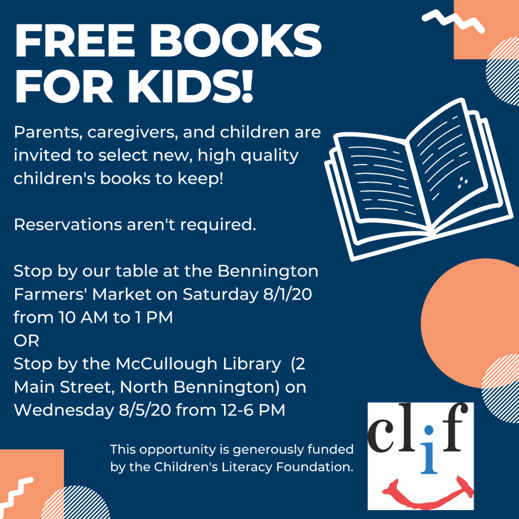 Free Books for kids. Wednesday Aug 5 from 12-6 p.m.